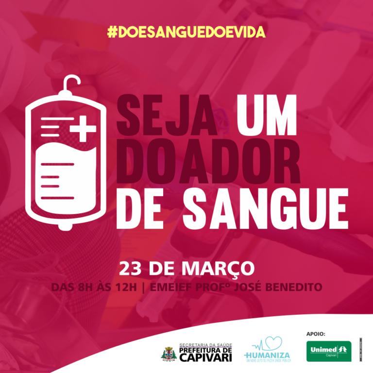 Read more about the article Campanha de Doação de Sangue acontece no dia 23 de março em Capivari