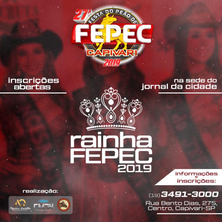 Read more about the article Aberto concurso Rainha da FEPEC 2019; inscrições na sede do Jornal da Cidade