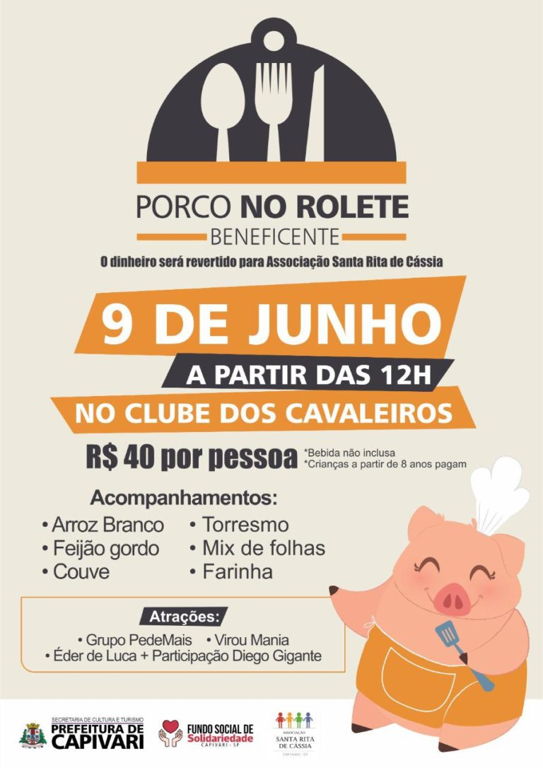 """Read more about the article Evento beneficente """"Porco no Rolete"""" acontece no dia 09 de junho"""