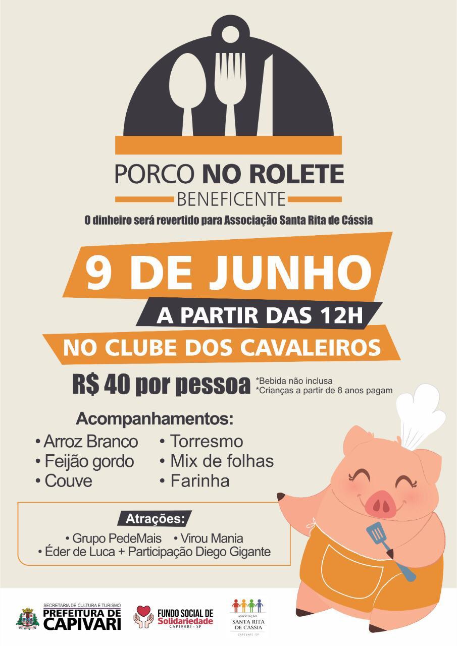 """You are currently viewing Evento beneficente """"Porco no Rolete"""" acontece no dia 09 de junho"""