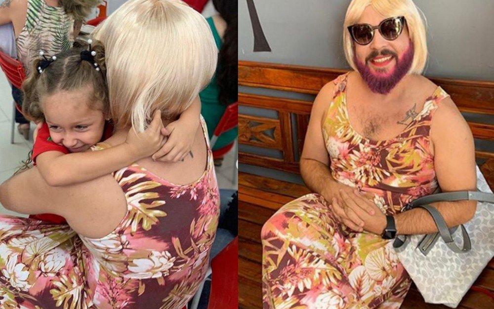 You are currently viewing Pai viúvo se veste de 'mãe' para participar com filha de festa do Dia das Mães