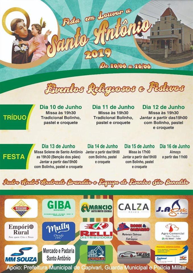 A Festa em louvor a Santo Antônio 2019 de 10 a 16/06