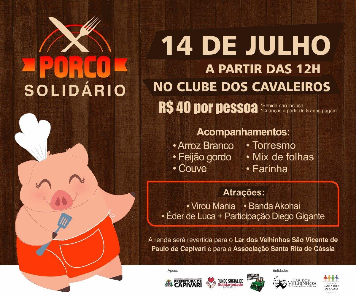 """You are currently viewing """"Porco Solidário"""" acontece no dia 14 de julho, no Clube dos Cavaleiros, em Capivari"""