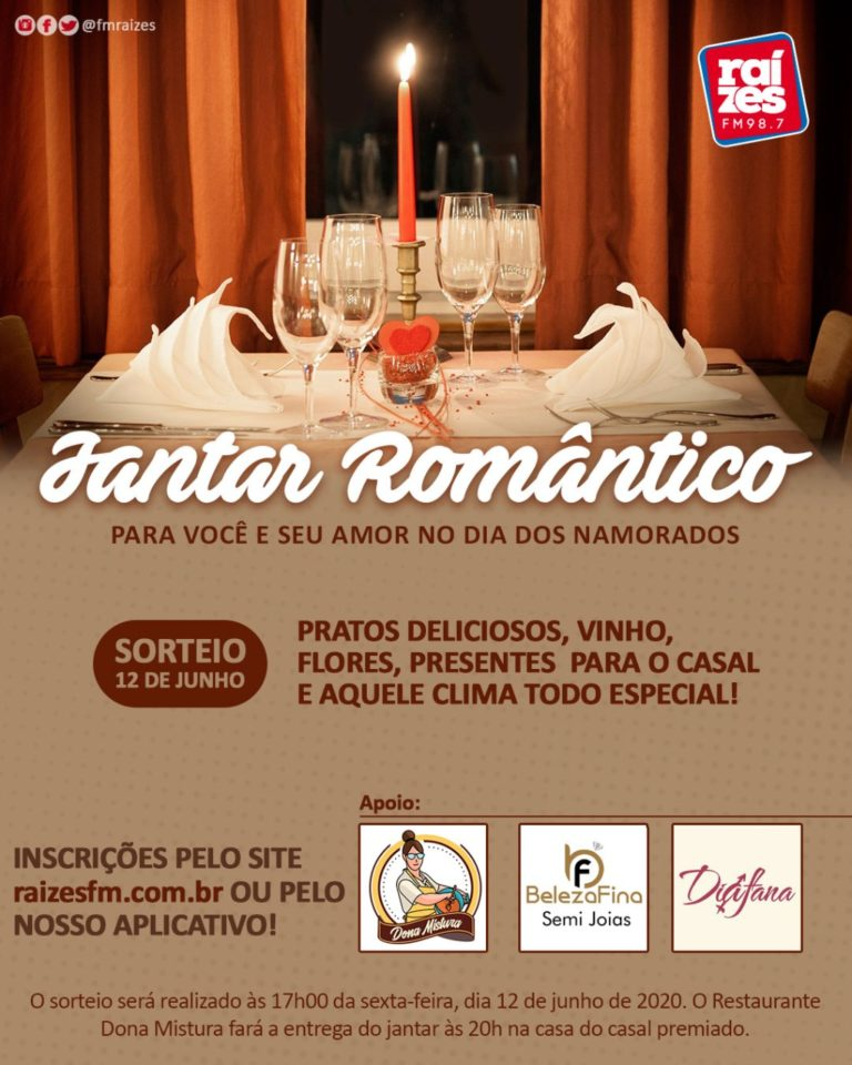 O Restaurante Dona Mistura e Raízes FM vai deixar o seu dia dos Namorados mais romântico